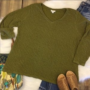 Pure J. Jill Olive Green Top
